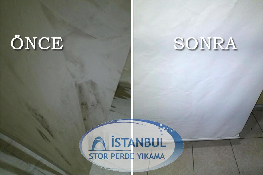 Stor perde yıkama öncesi ve sonrası