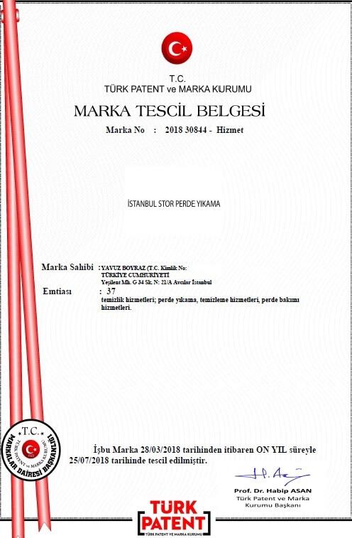 İstanbul stor perde yıkama marka tescil belgesi