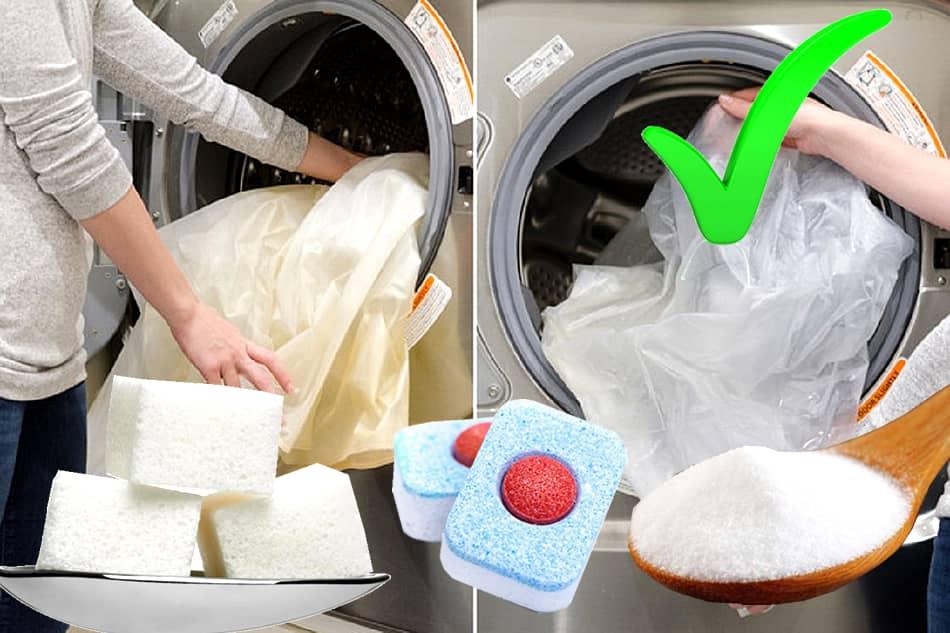 Şeker bulaşik makinesi tableti karbonat ile perde beyazlatma